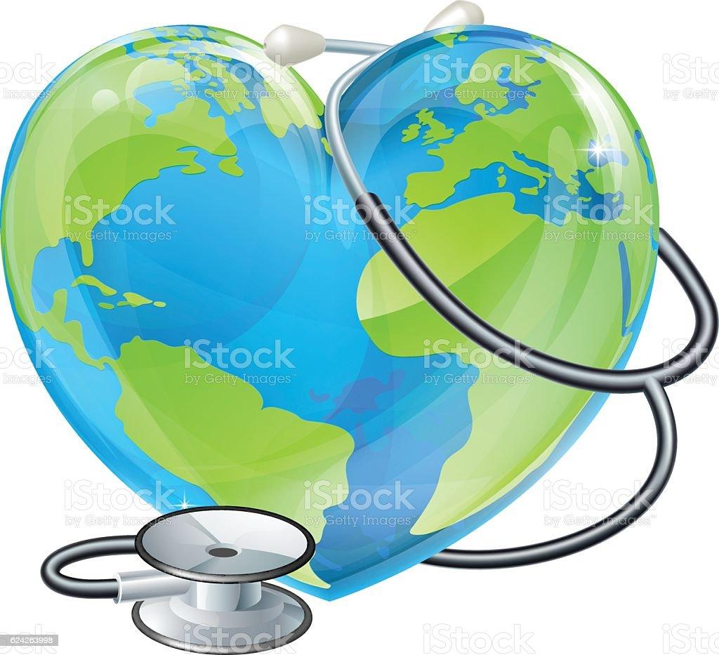 Heart World Health Day Earth Stethoscope Globe Concept vector art illustration
