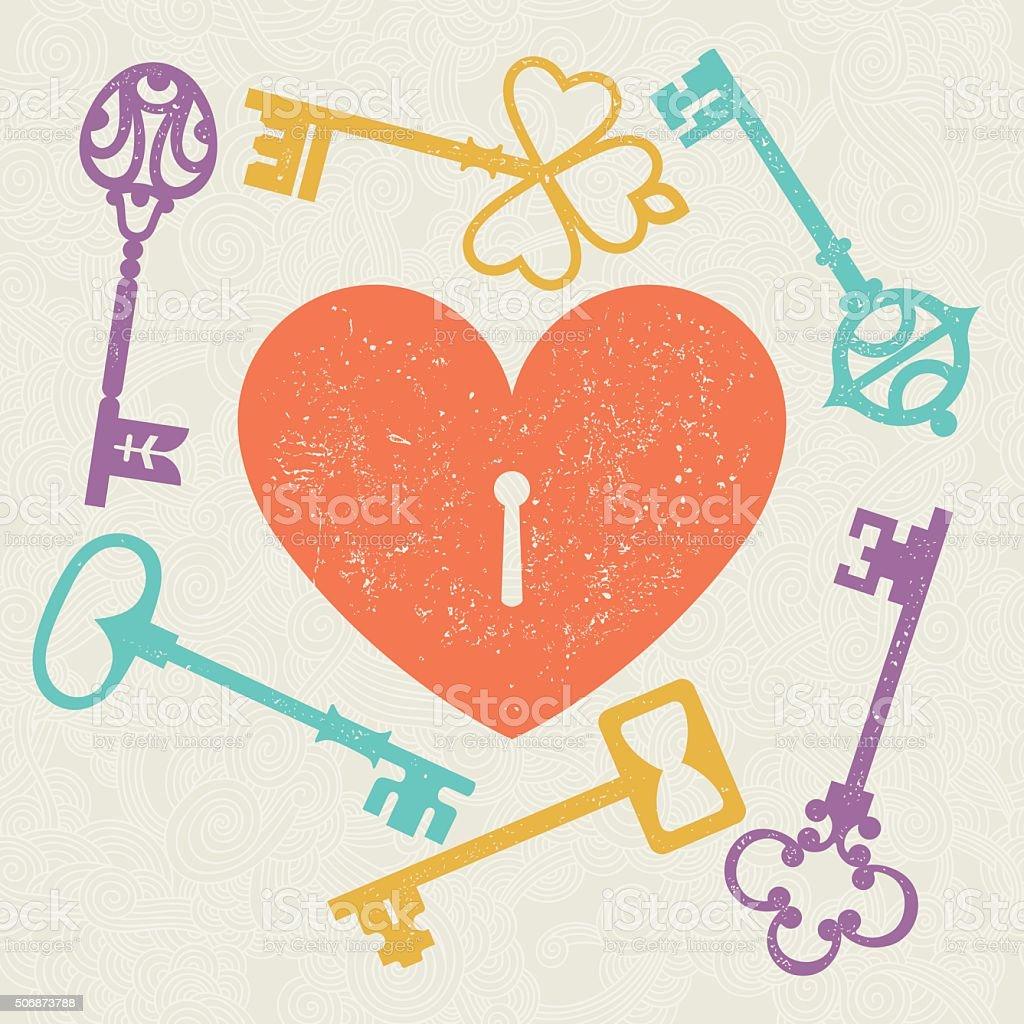 heart_key vector art illustration