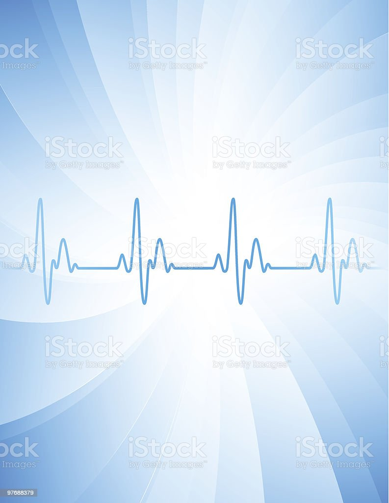 Heartbeat graphic on spiral blue and white background royalty-free stock vector art