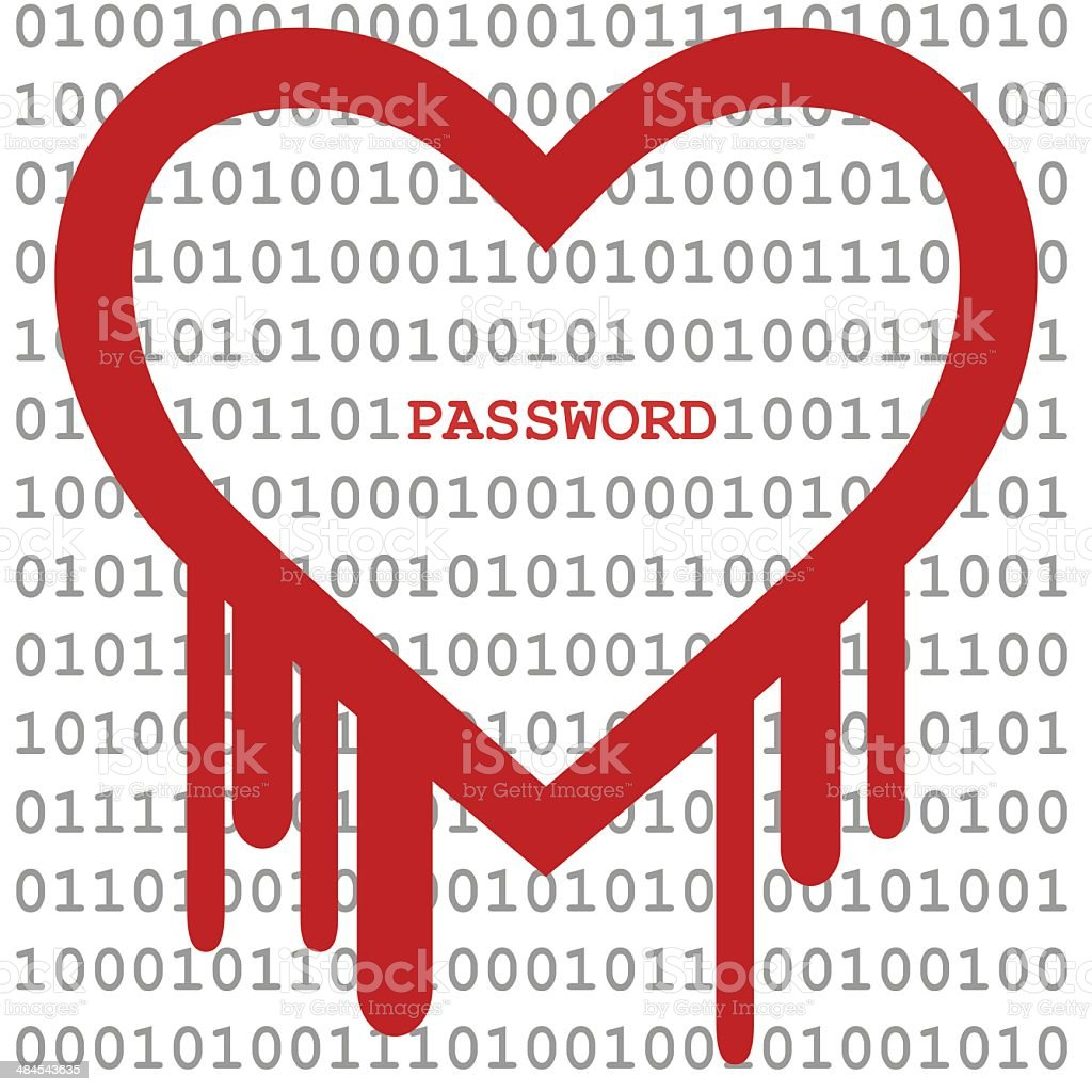 Heartbleed Bug, Heart shape with red bleed royalty-free stock vector art
