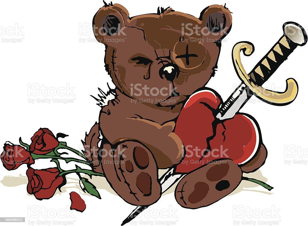 heartbroken teddy bear vector art illustration