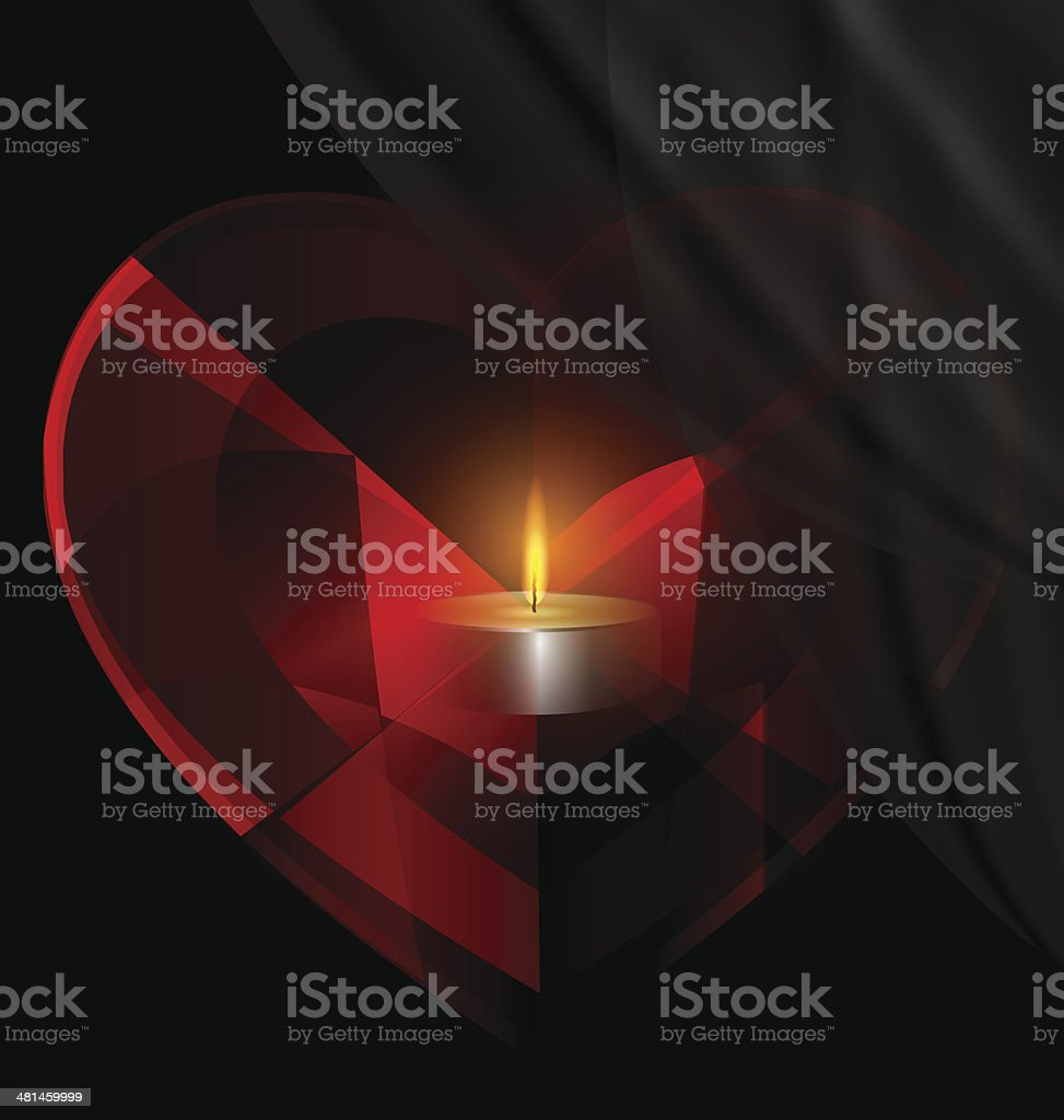 heart-crystal and candle vector art illustration