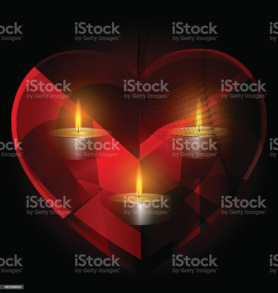 heart-crystal and candles vector art illustration