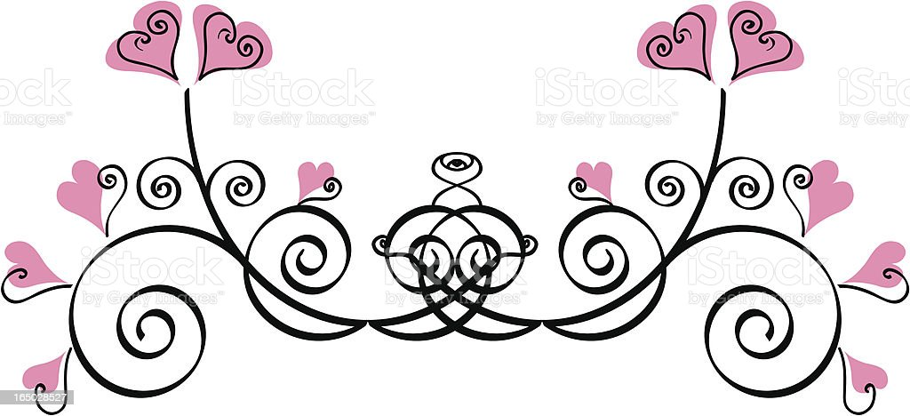 Hearts & scrolls design element royalty-free stock vector art