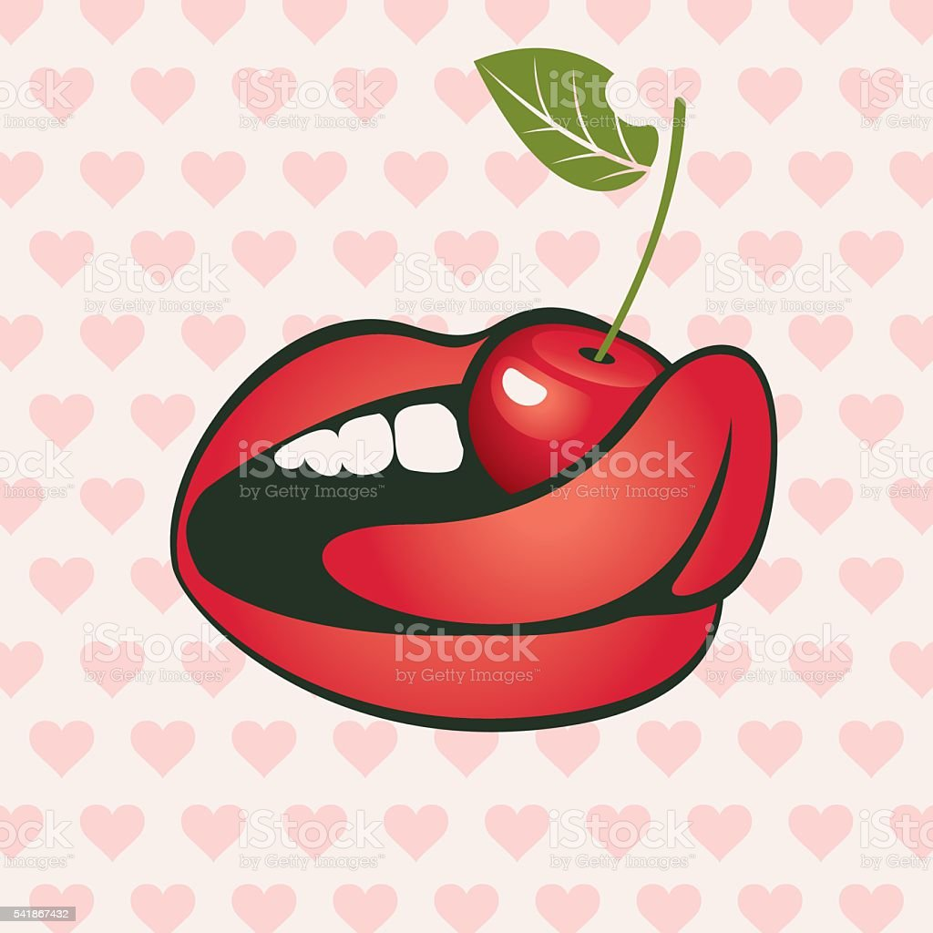 hearts and a cherry in the mouth vector art illustration