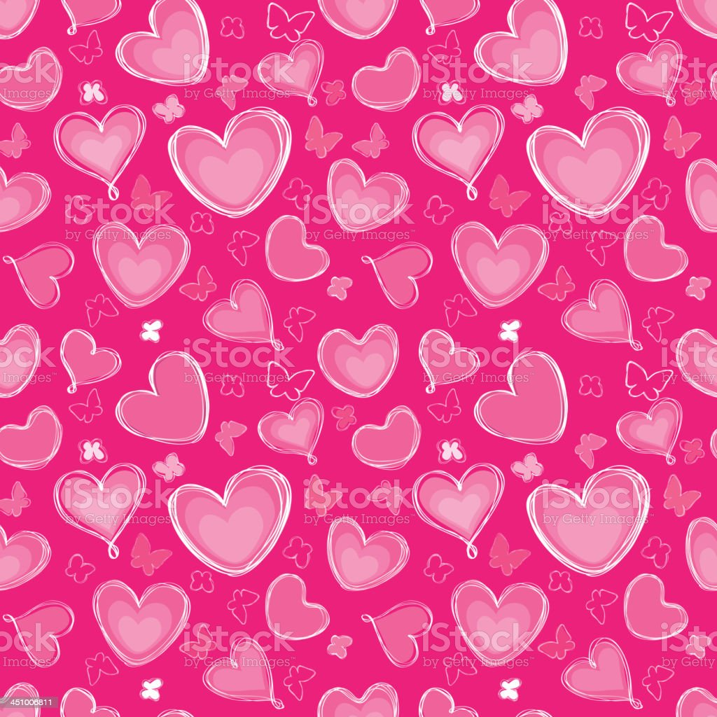 Hearts and butterfly seamless festive pattern. royalty-free stock vector art