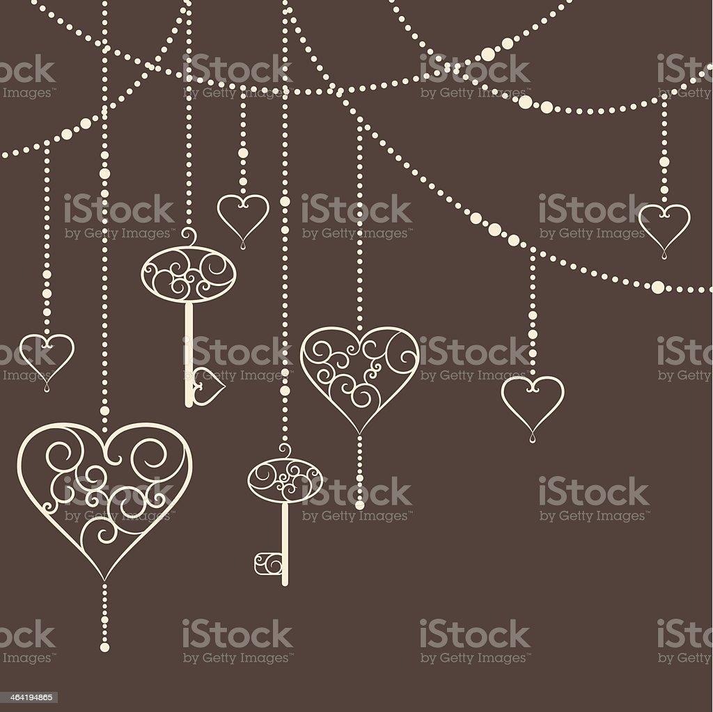 Hearts and keys vector art illustration