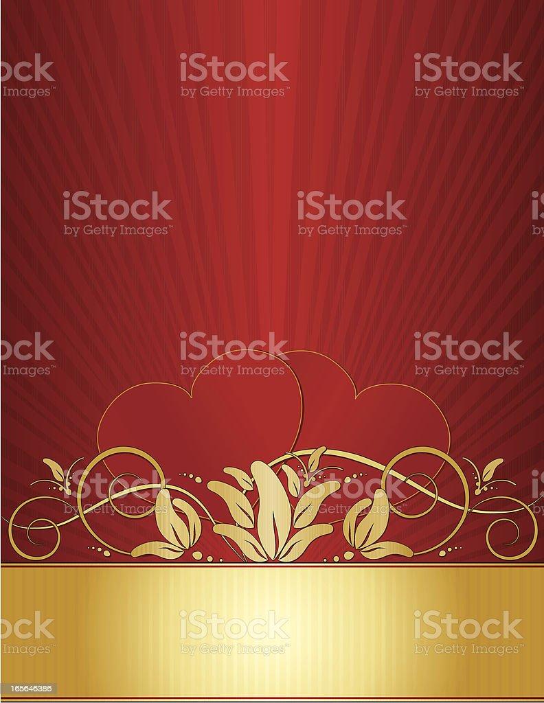 Herzen und abgerundete wirbeln Blumen Hintergrund und Design-Rot, Gold Lizenzfreies vektor illustration