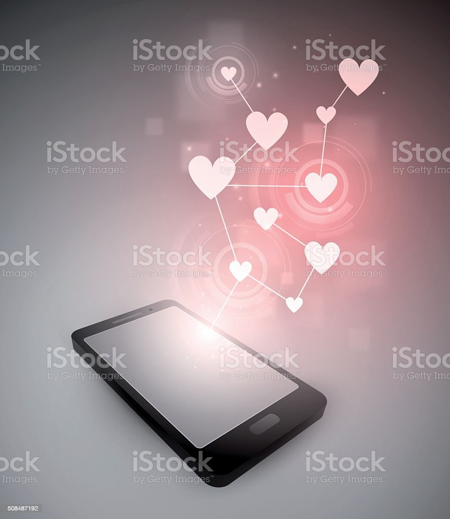 Hearts and smartphone vector art illustration