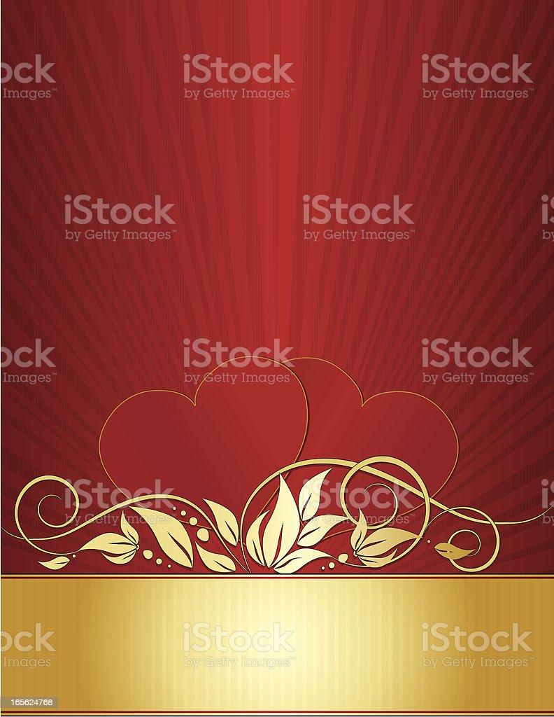 Herzen und Wirbel Hintergrund Design in Rot, Gold Lizenzfreies vektor illustration