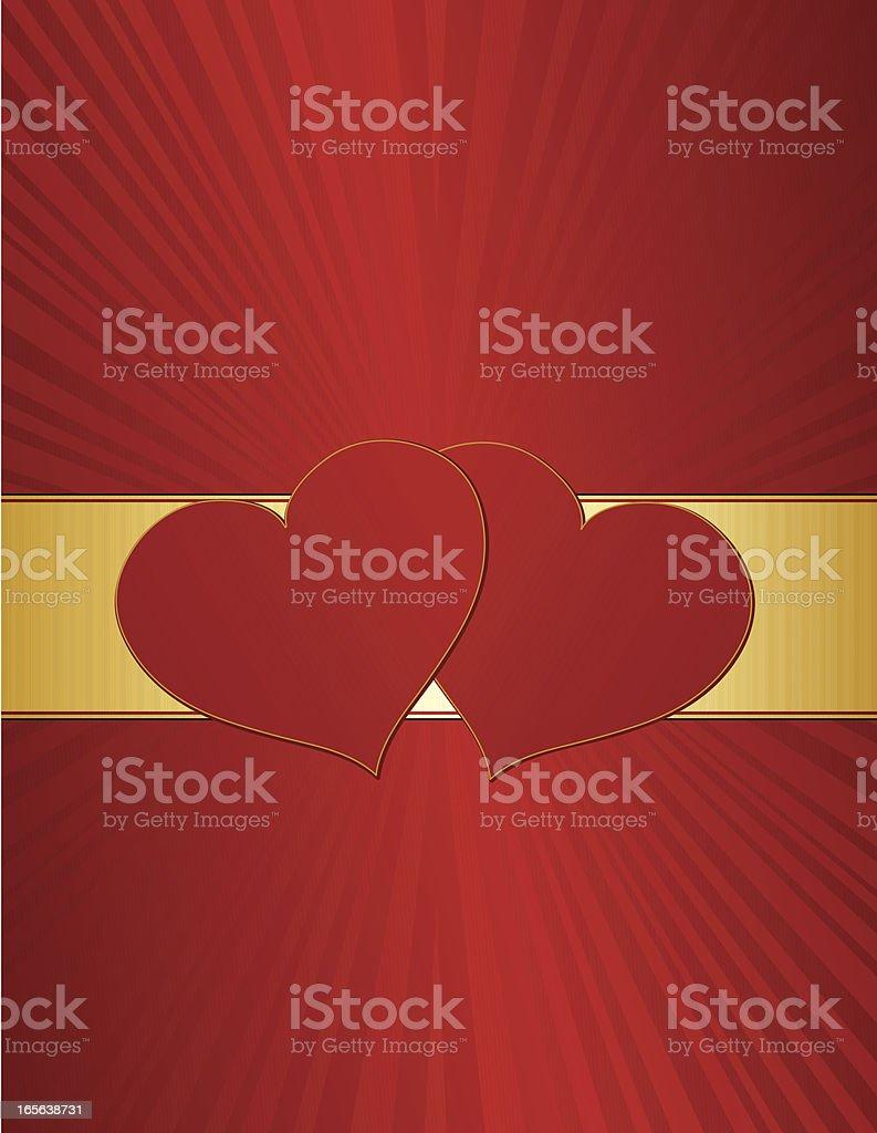Hearts Hintergrund Design in Rot und Gold Lizenzfreies vektor illustration