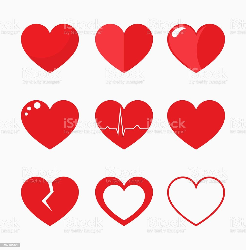 Hearts collection vector vector art illustration