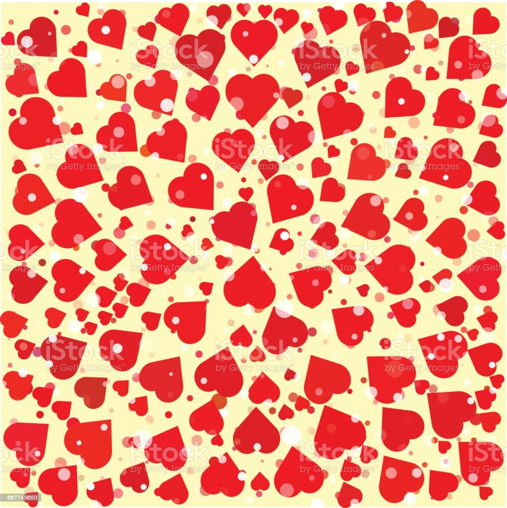 Hearts diferent size and color round background template. vector art illustration