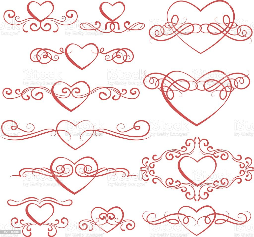 Hearts elements vector art illustration