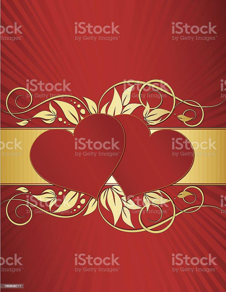 Herzen Blumen Windung Hintergrund Design-Rot, Gold-Metallic Lizenzfreies vektor illustration