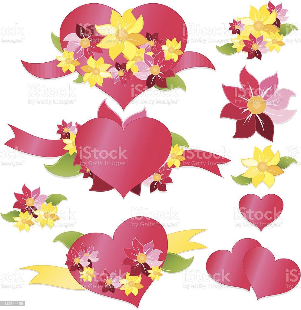 Herzen, Blumen, Banner, Bänder Set: Pink, Gelb, Grün Lizenzfreies vektor illustration