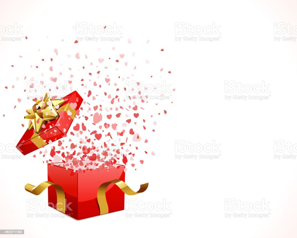 Hearts fly from open gift present box vector art illustration