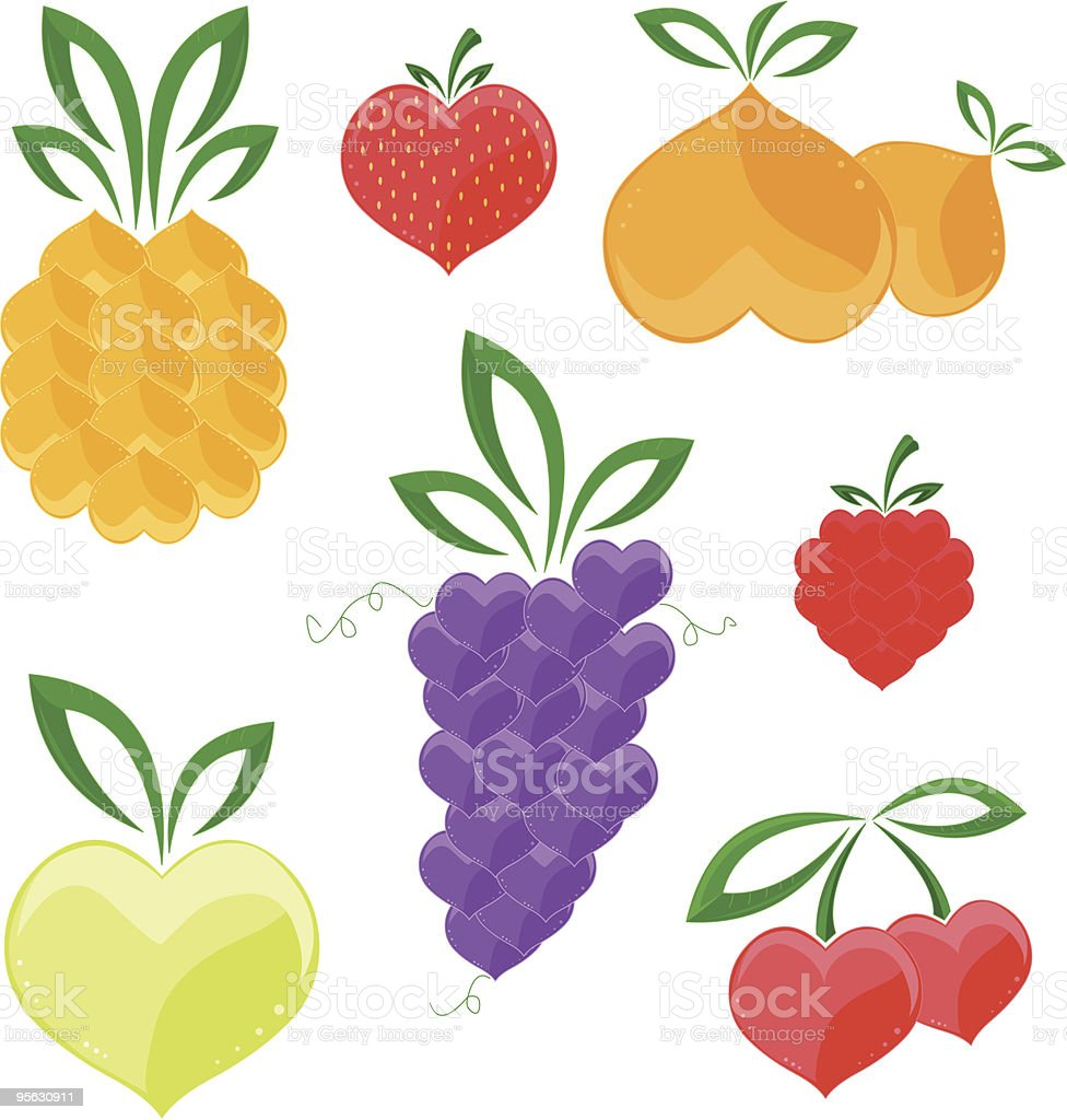 Hearts - fruits royalty-free stock vector art
