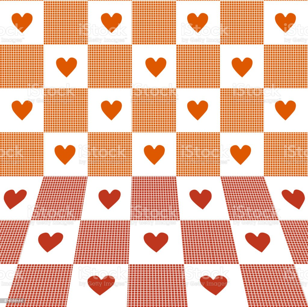 Hearts & Gingham three-dimensional pattern. vector art illustration