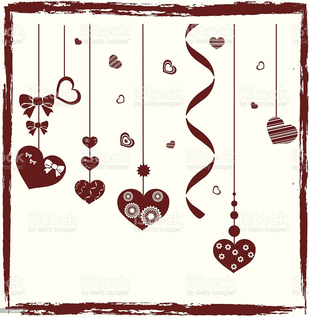 Hearts Hanging from the Sky royalty-free stock vector art