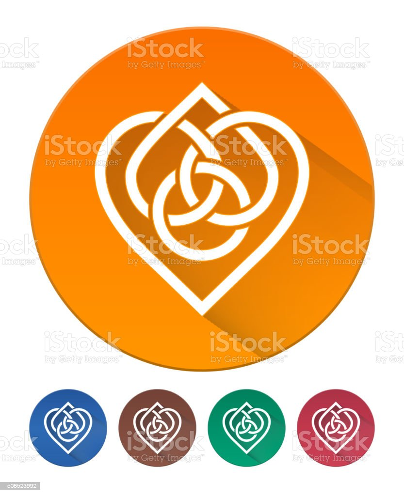 Hearts Icon Flat. Intertwined Heart in Celtic Knot vector art illustration