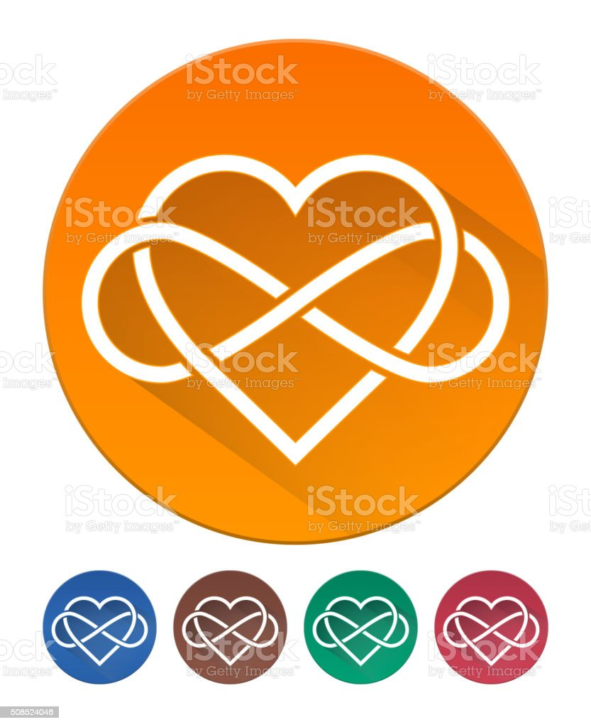 Hearts Icon Flat. Intertwined Heart with The Sign of Infinity vector art illustration