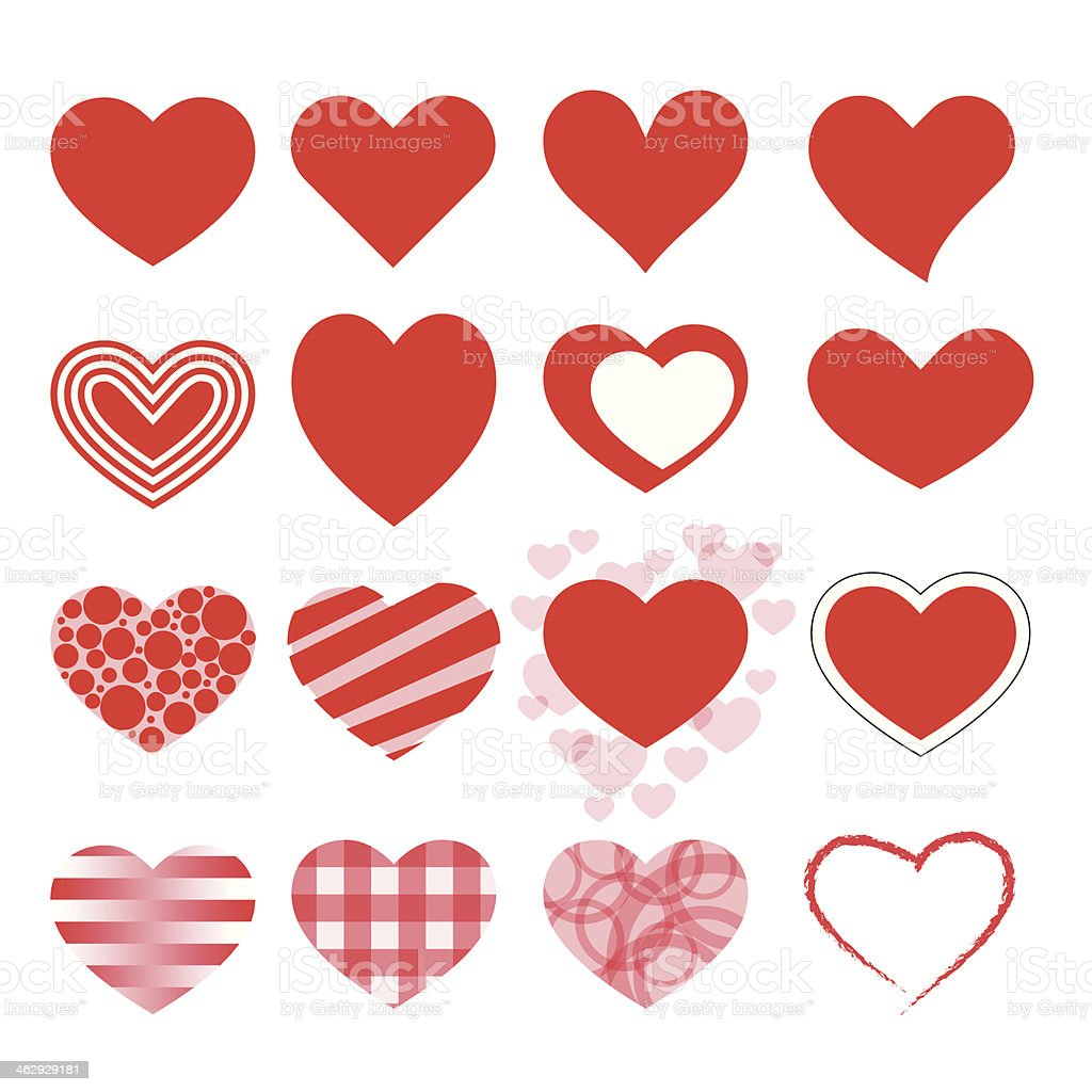 Hearts icon set vector art illustration