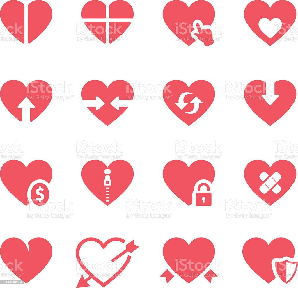 Hearts icons set vector art illustration