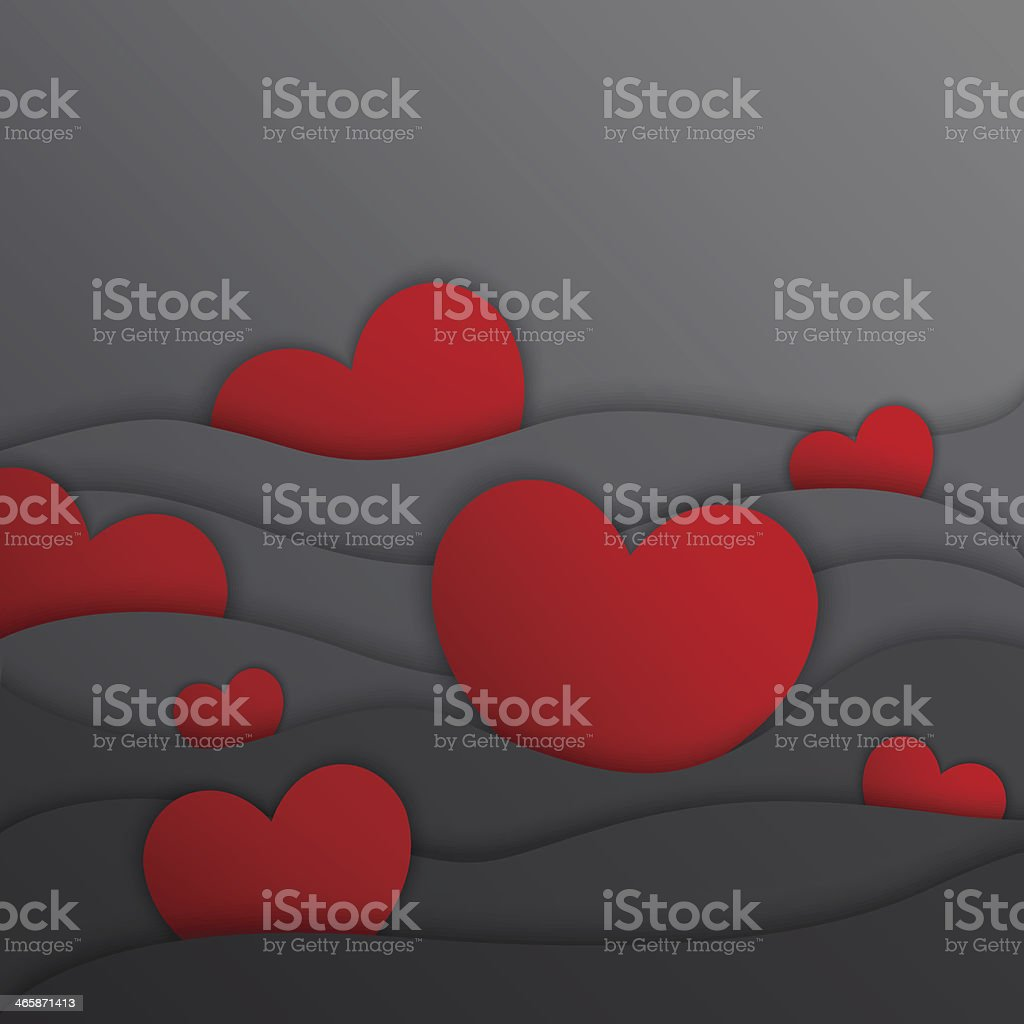 Hearts in gray waves. Vector illustration royalty-free stock vector art