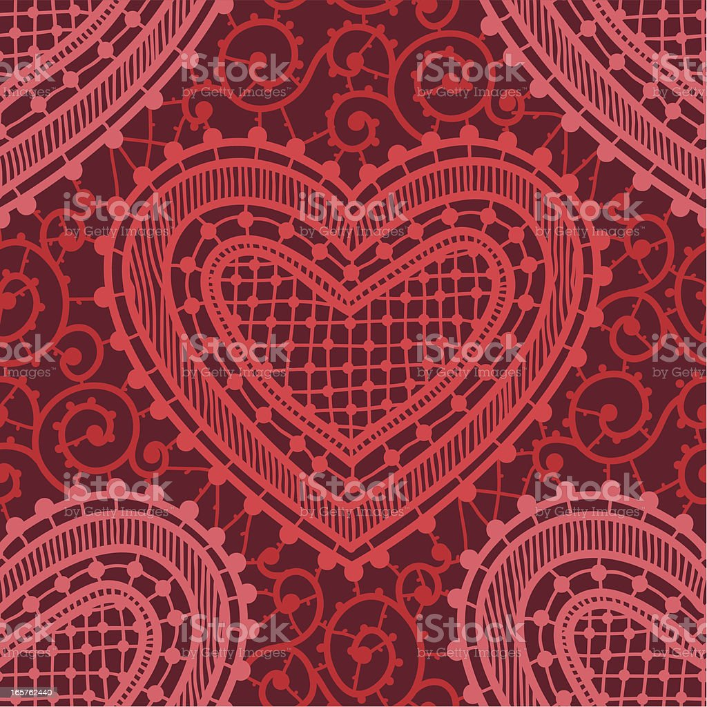 Hearts, Lace. Red Backgrounds, Seamless Pattern. vector art illustration
