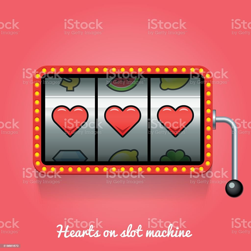 Hearts on slot machine vector art illustration