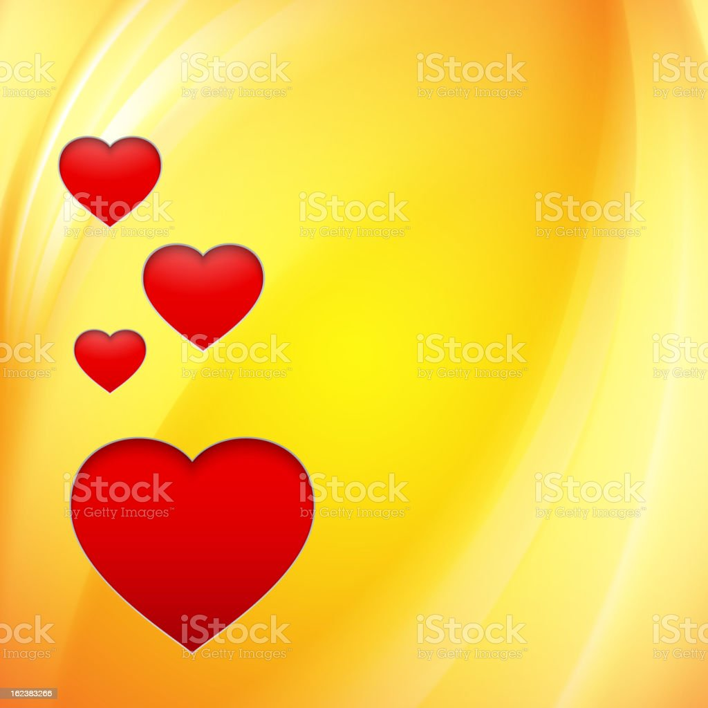 Hearts over orange. royalty-free stock vector art