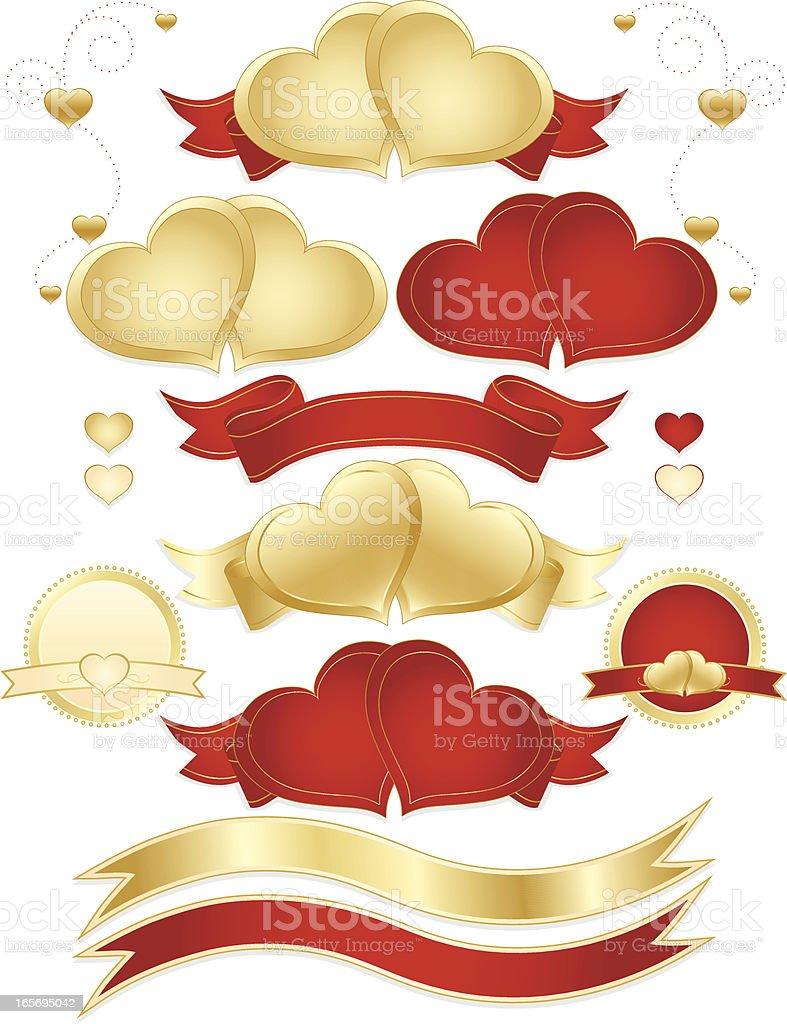Hearts, Bänder, Aufkleber, Banner-Set-Rot, Gold-Metallic Lizenzfreies vektor illustration