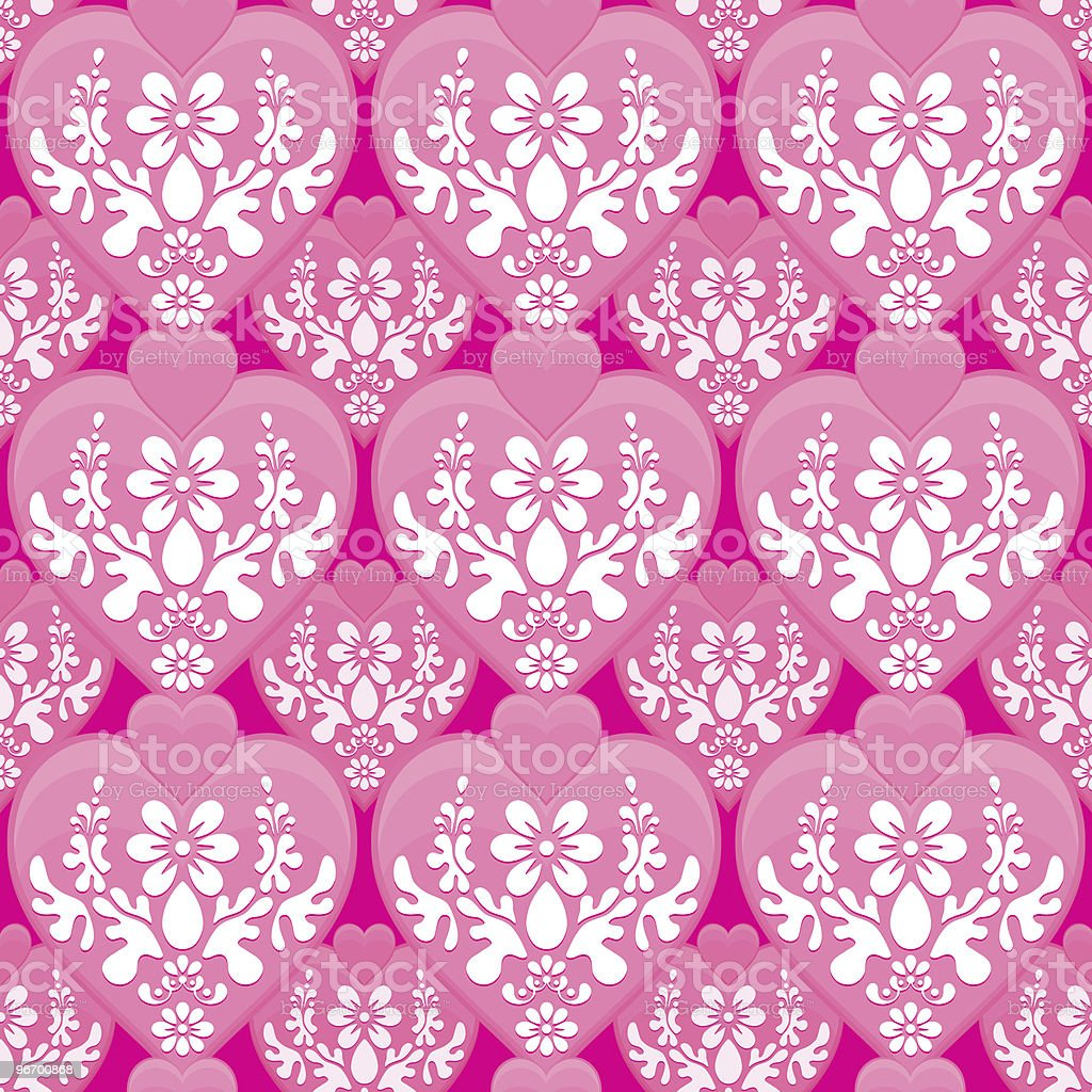 Hearts Seamless Wallpaper Background Tile royalty-free stock vector art