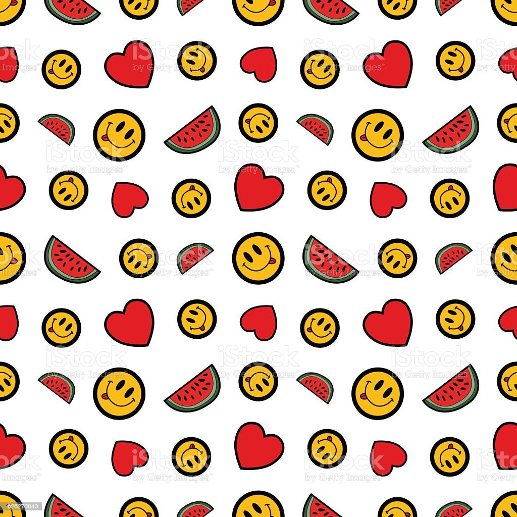 Hearts Smile and Watermelons Seamless Pattern vector art illustration