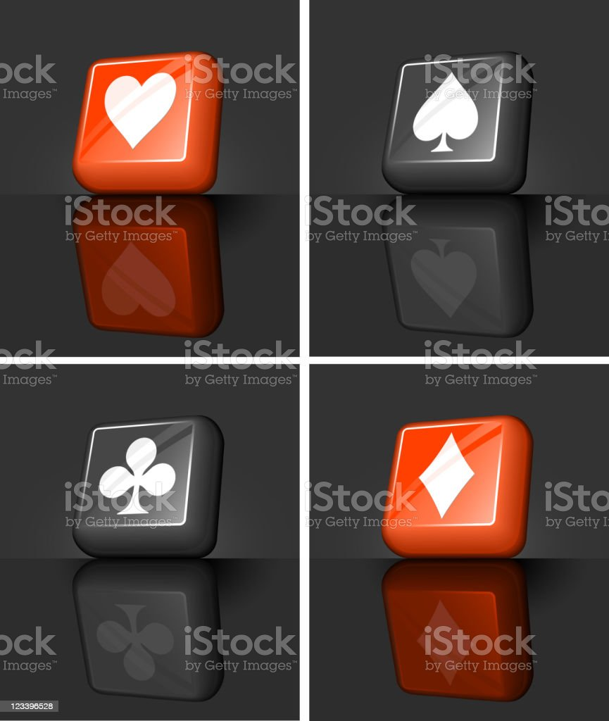 hearts, spades, clubs & diamonds playing card suits 3D buttons royalty-free stock vector art