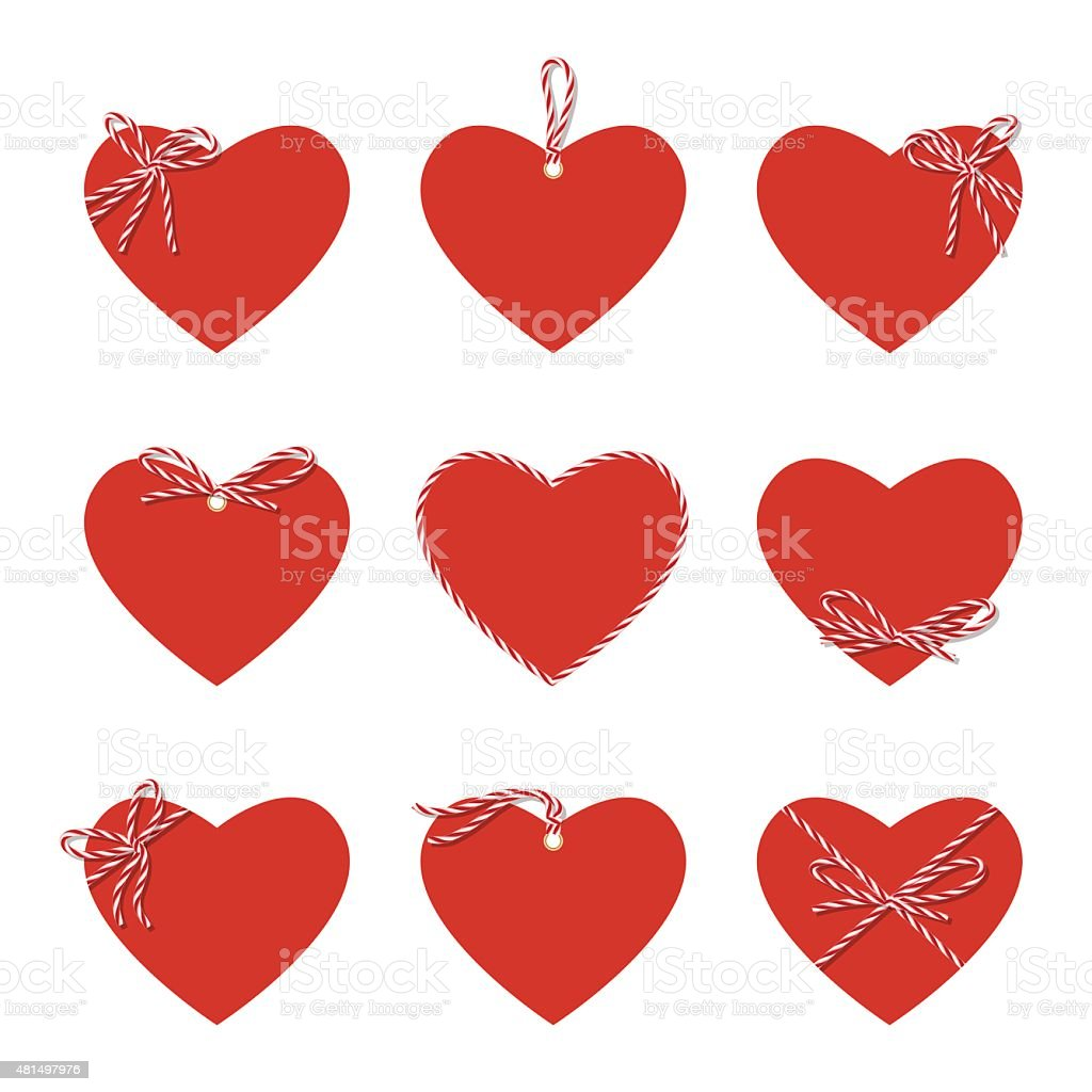 Hearts with bakers twine ribbons and bows vector art illustration