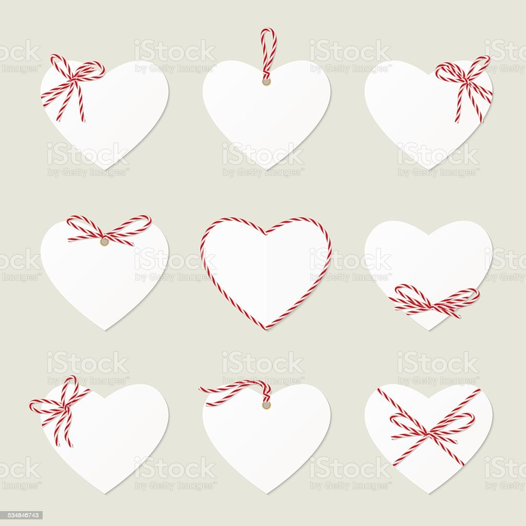 Hearts with ribbons ahd bows in twine style vector art illustration
