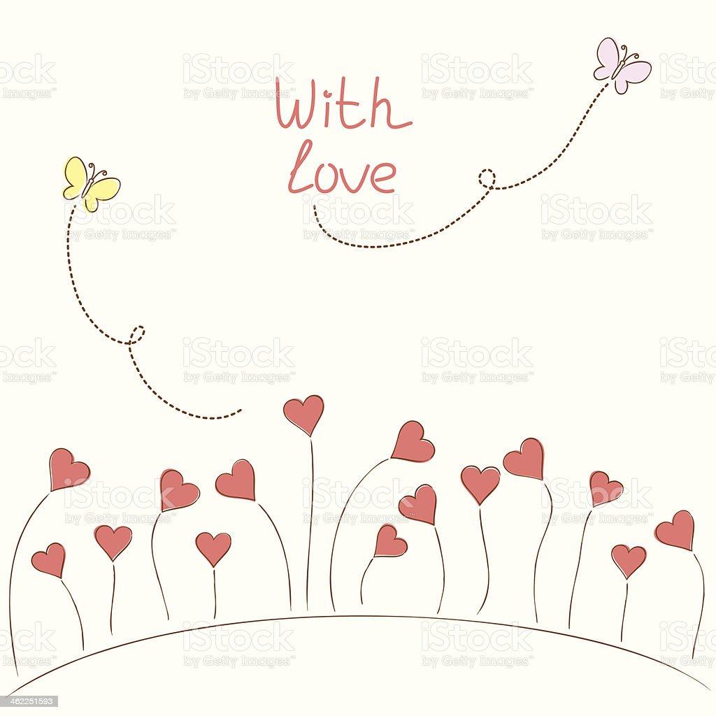 Hearts-flowers vector art illustration