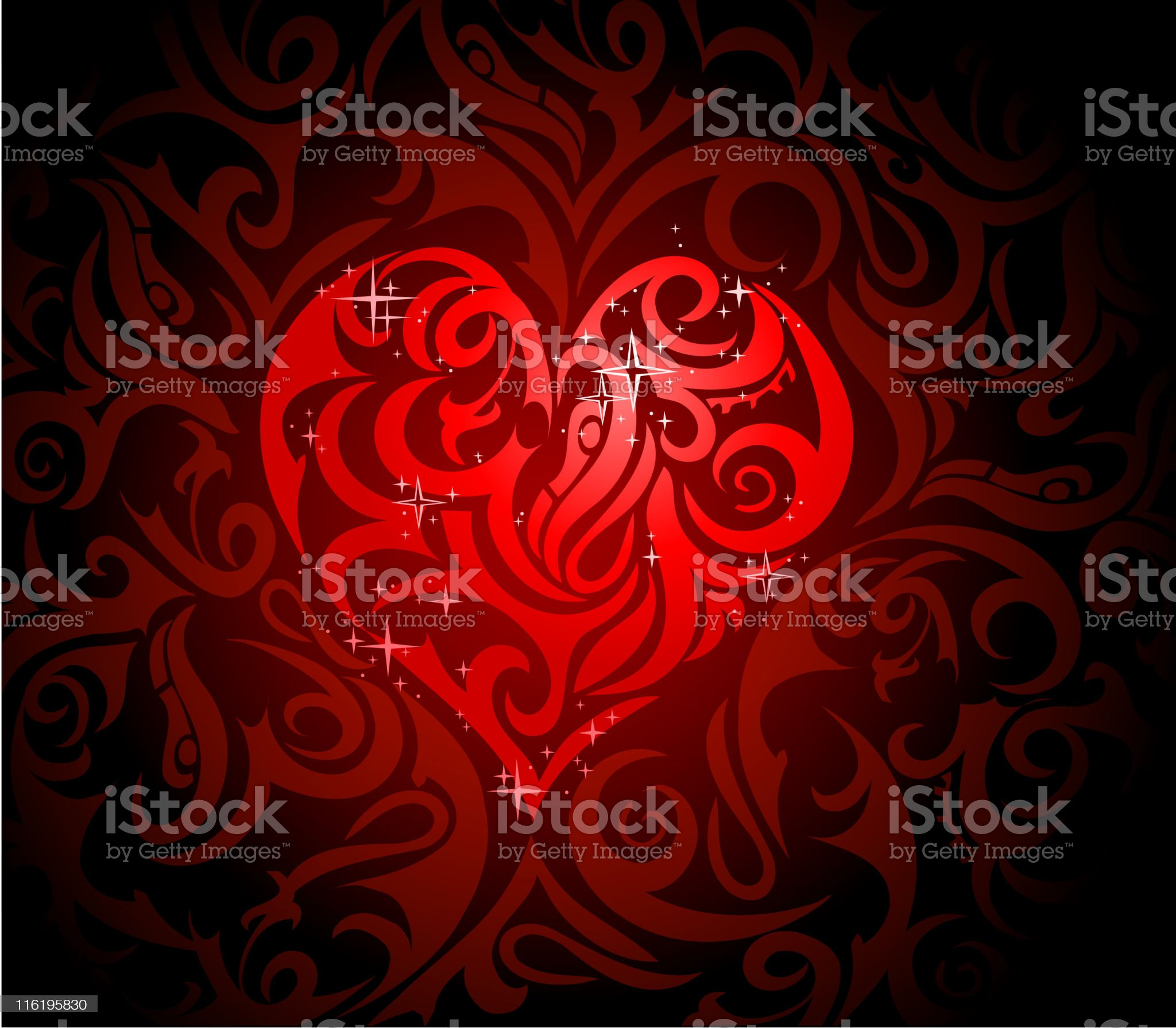 Heart-shape in tribal art style royalty-free stock vector art