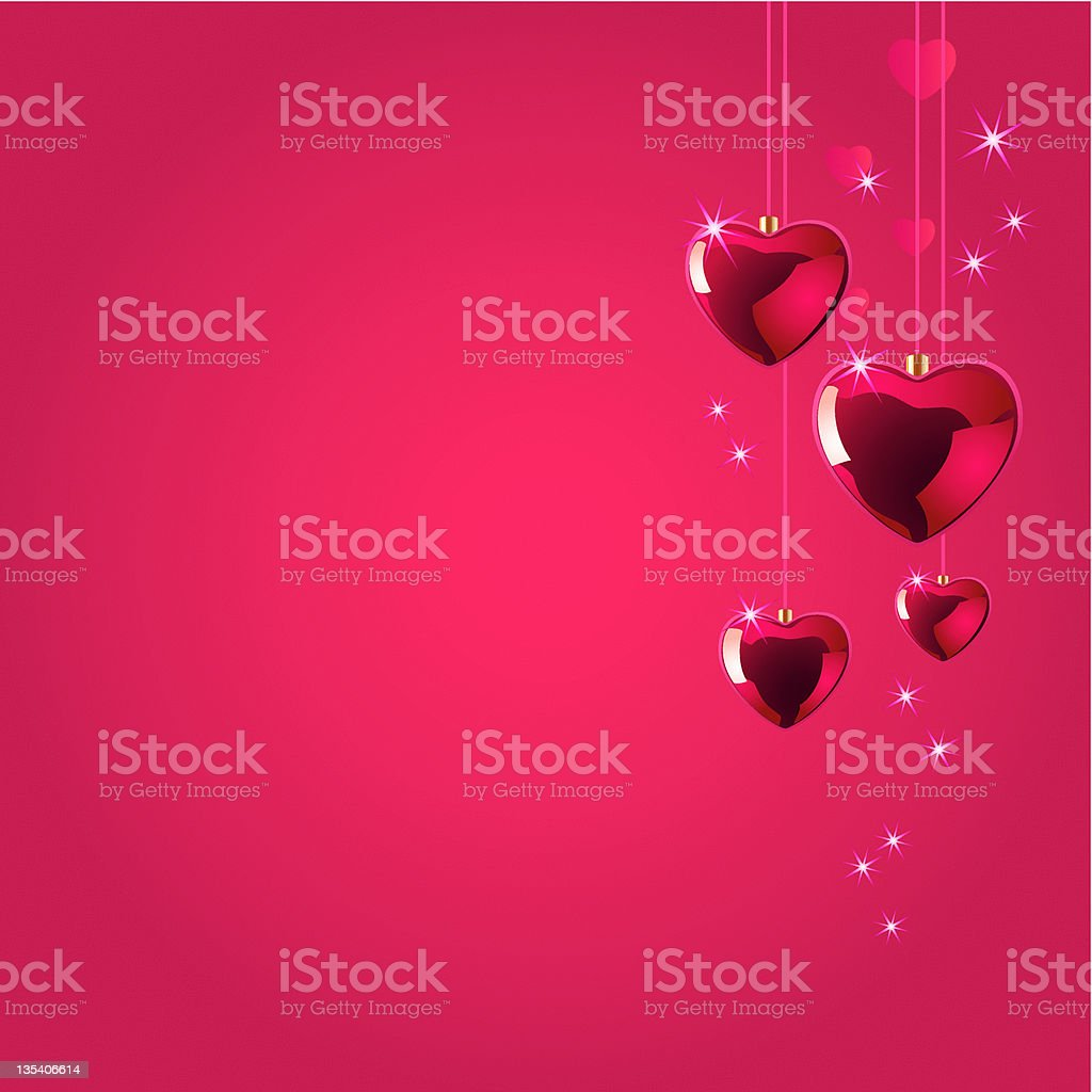 Heart-Shaped Baubles Background stock photo