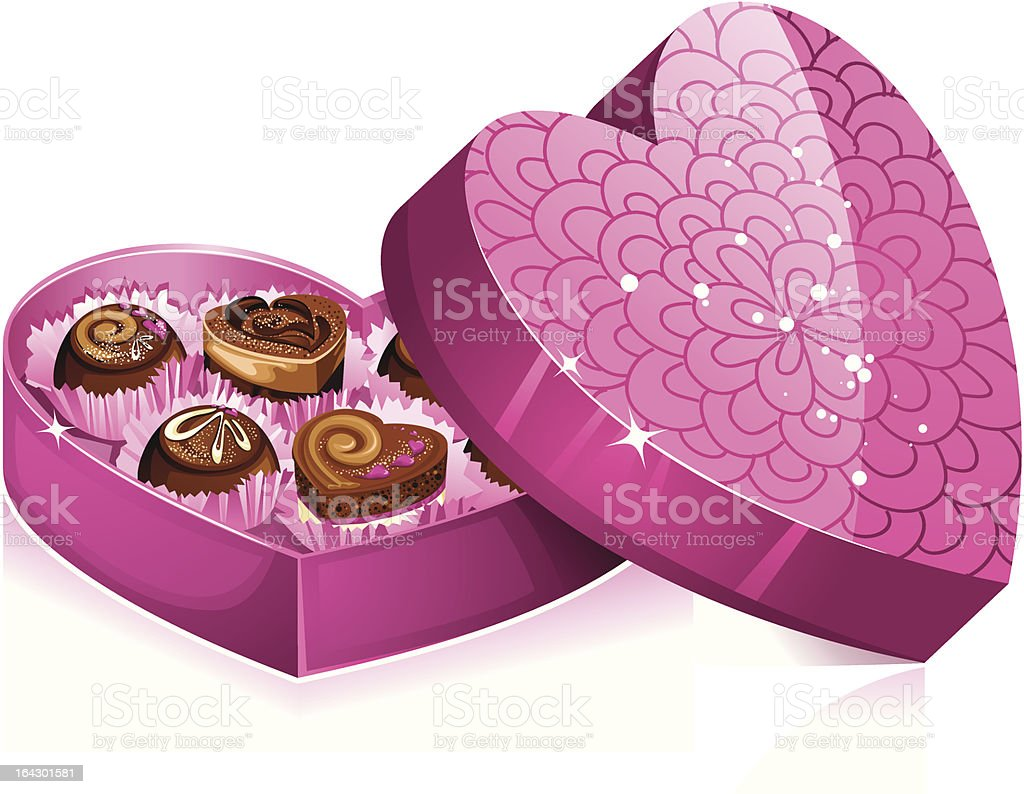 Heart-shaped box of delicious chocolates royalty-free stock vector art