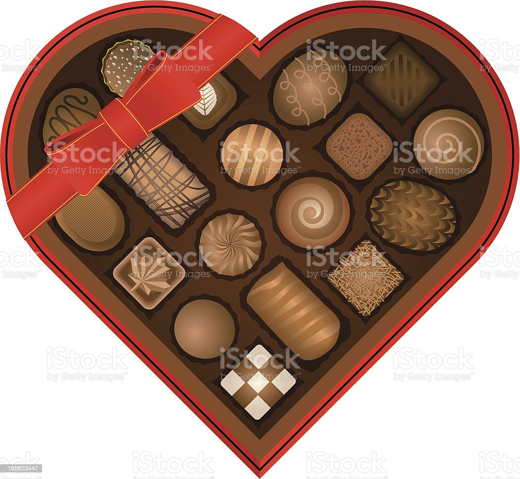 Heart-shaped chocolate box vector art illustration