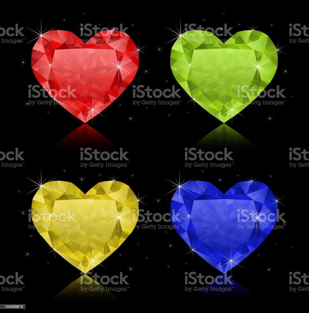 Heart-shaped diamonds royalty-free stock vector art