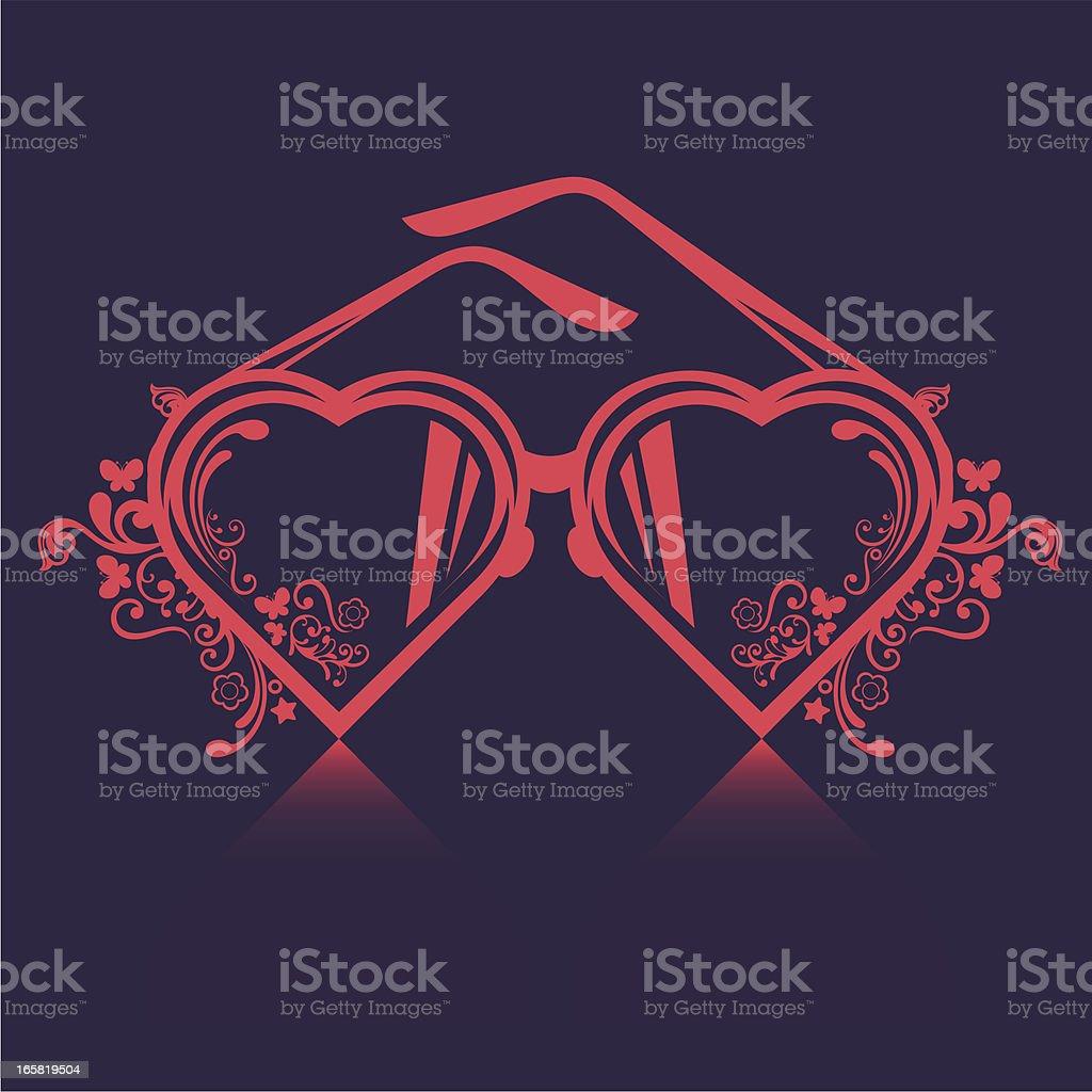 Heart-shaped glasses. vector art illustration