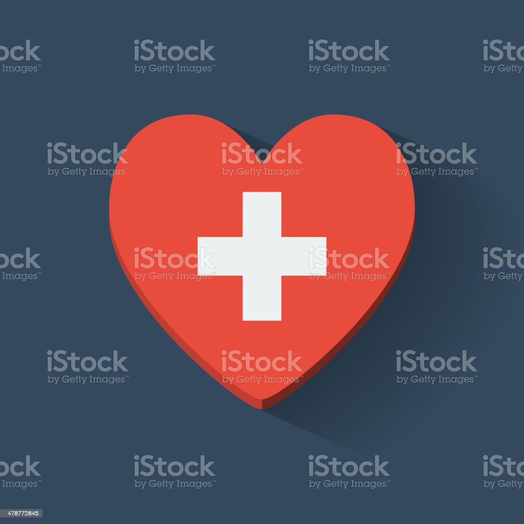 Heart-shaped icon with flag of Switzerland vector art illustration