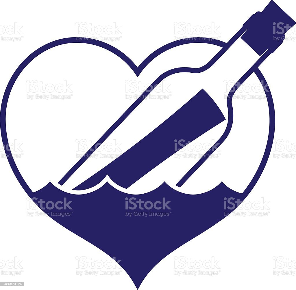 Heart-shaped message in a bottle icon vector art illustration