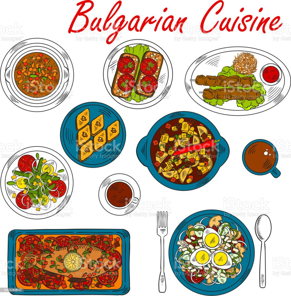Hearty dishes of Bulgaria with meat and vegetables vector art illustration