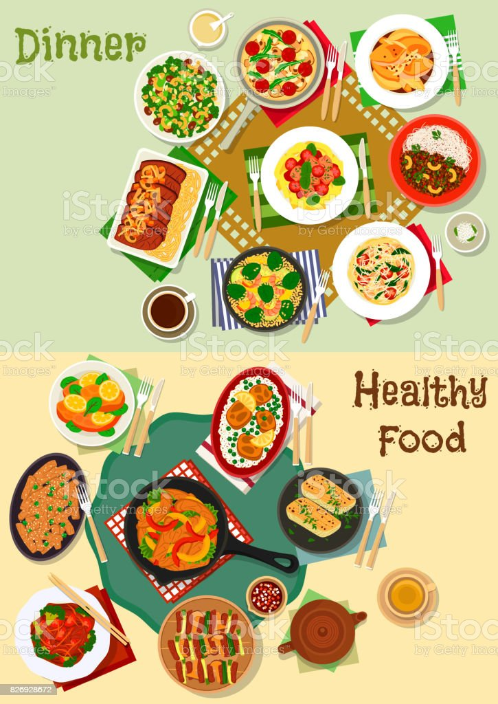 Hearty meal icon set for healthy food design vector art illustration