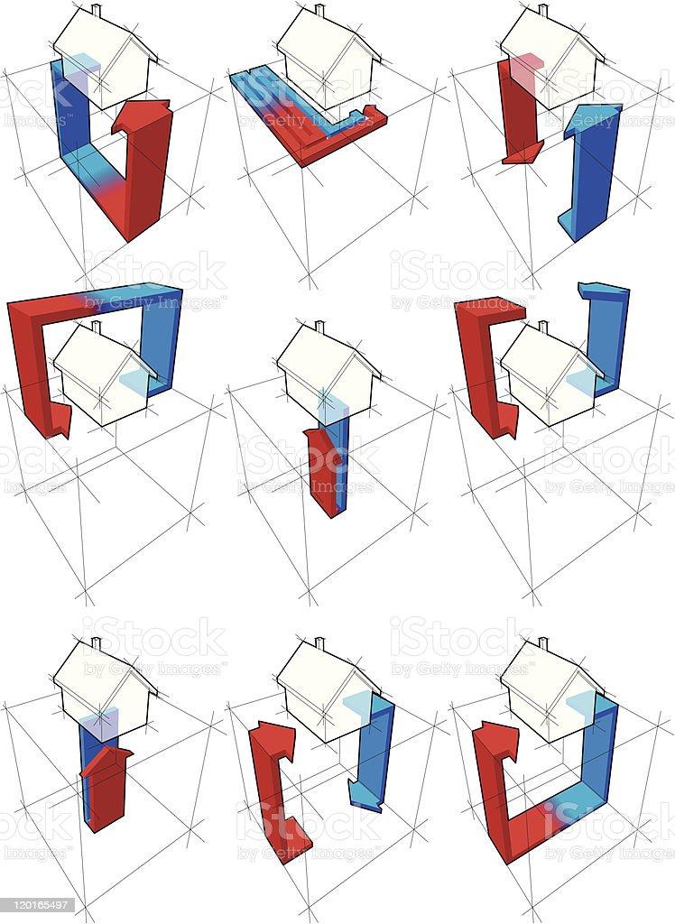 heat pump diagrams royalty-free stock vector art